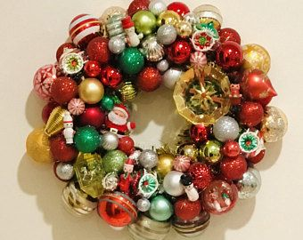 Toyland Vintage Christmas Wreath With Lots Of Vintage Wooden Ornaments Christmas Wreaths Retro Christmas Decorations Wooden Christmas Decorations