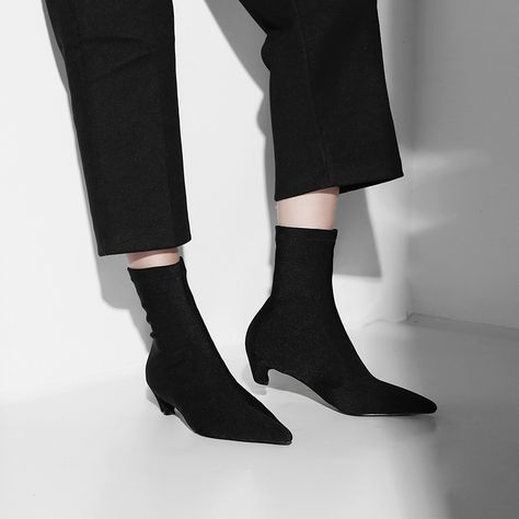 11257a4f407 Chiko Bickford Kitten Heel Pull On Sock Boots feature pointy toe
