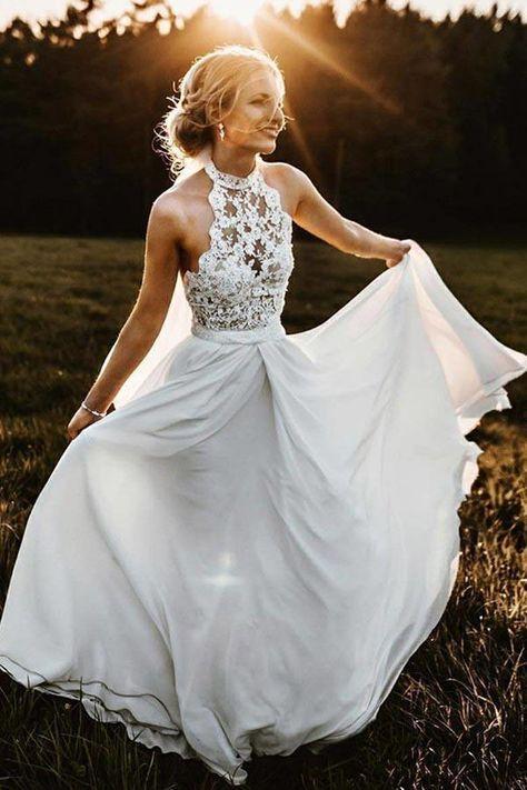 A-Line Halter Sleeveless Chiffon Long Beach Wedding Dress with Lace