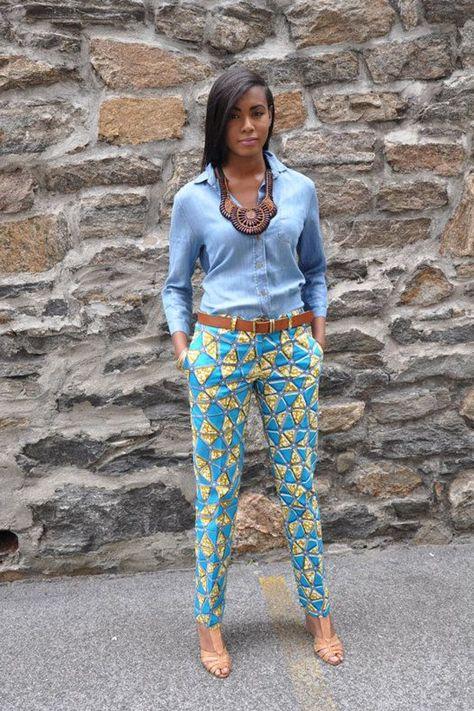 African Print Pants with a denim shirt