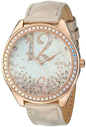 GUESS Women's Iconic Rose Gold-Tone Watch Powerdered with Genuine Crystals Accents