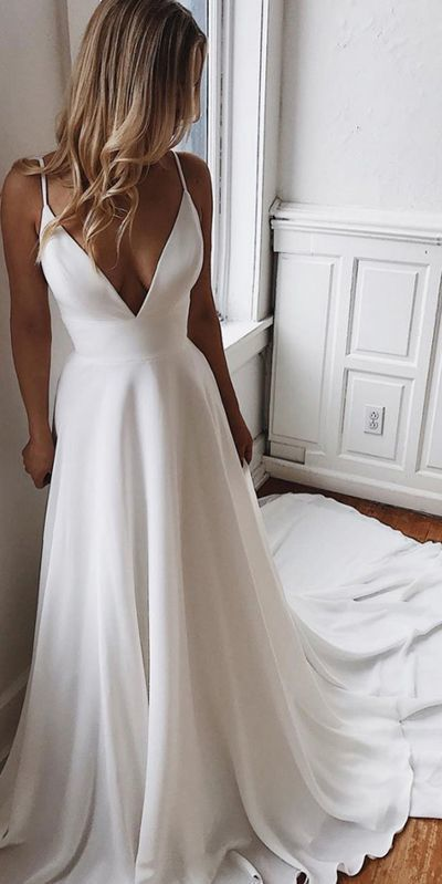 #dress #wedding #bride #bridaldress #weddingdress #weddingoutfits #weddingdesign #bridedress #weddinggown #bridalgown #gown  White Satin A-line V-neck Lace Spaghetti Straps Prom Dress with Sweep Train by Smile $160.35 USD