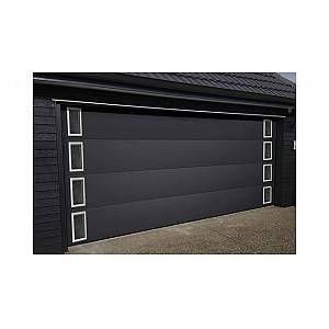 Porte De Garage Sectionnelle Avec Hublots Carres En 2020 Porte De Garage Sectionnelle Porte Garage Et Porte Aluminium