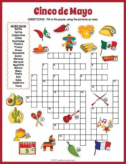 Free Printable Cinco De Mayo Crossword Cinco De Mayo Activities Cinco De Mayo Cinco De Mayo Crafts