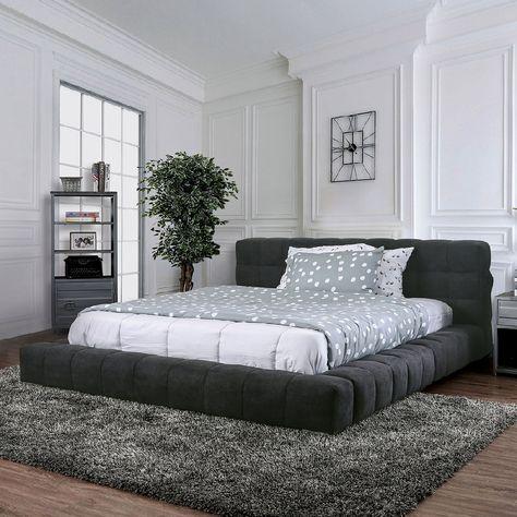 Furniture Of America Wolsey Dark Gray Linen Like Fabric Ultra Low