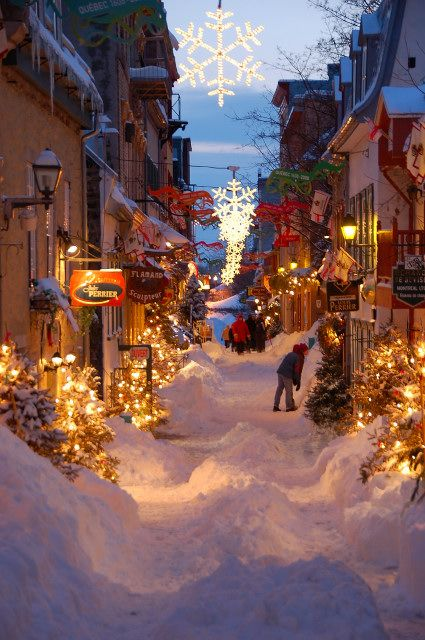 Old Quebec street in winter...Ahh so beautiful.