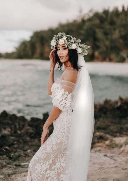 Dress Boho Lace Flower Crowns 62 Ideas Wedding Dresses Lace Beach Wedding Gown Beach Wedding Dress