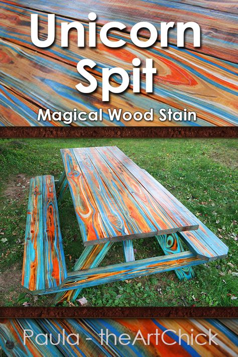 Unicorn Spit Color Wood Stain on a Picnic Table Diy Wood Projects, Furniture Projects, Furniture Makeover, Wood Crafts, Diy Furniture, Woodworking Projects, Cabin Furniture, Painted Picnic Tables, Diy Picnic Table