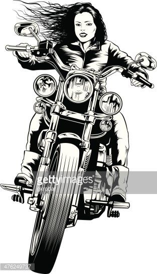 Female Biker Cool Cartoon Google Sok Med Bilder Tegne