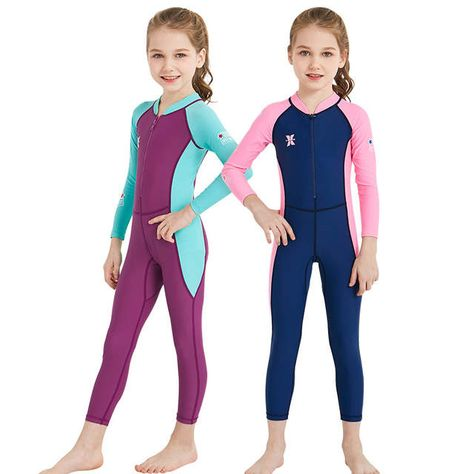 49823faf9d Lycra Long Sleeve Children Wetsuit Boys Girls One Piece Kids Diving Suit UV  protection Swimwear Surfing