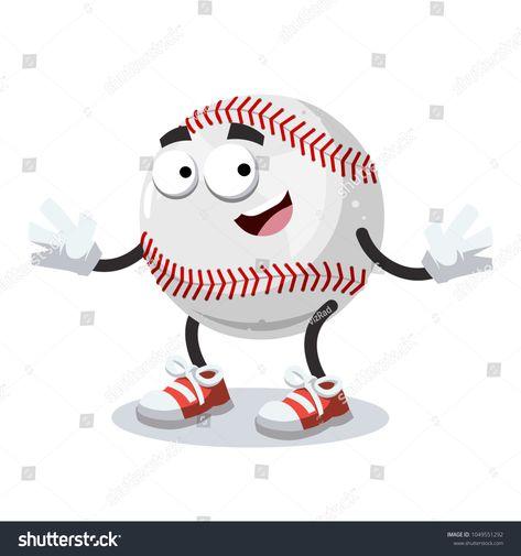 cartoon joyful baseball ball mascot smiling on white background #Sponsored , #affiliate, #baseball#ball#cartoon#joyful