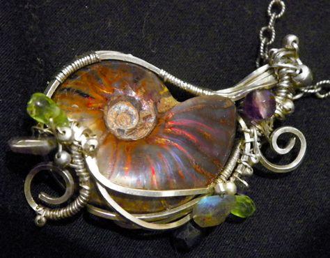 Handmade Silver Opalized Ammolite necklace