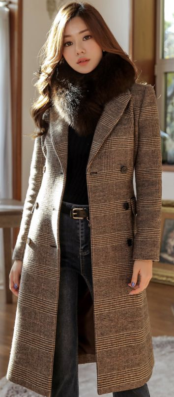 Wool Coat Outfit, Brown Check Winter Coat