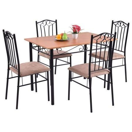 25 Home Decor Dining Table Set For Four Wood Metal 5 Piece Wooden Texture Surface Wood Dining Room Wooden Dining Set Wood And Metal Table