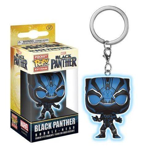 Black Panther Blue Glow Pocket Pop! Key Chain - Black
