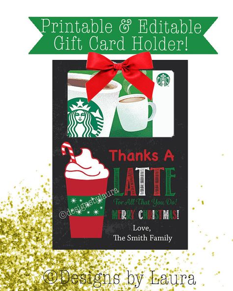 photograph relating to Thanks a Latte Christmas Printable known as PRINTABLE Xmas Reward Card Holder - Instantaneous Down load