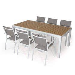 Gartenmobelset Tisch Capri 2 3m 6 Sesseln Hendaye Kieselgrau