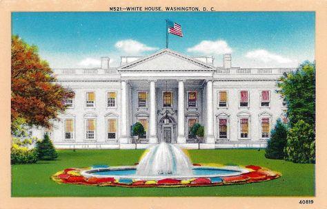 Washington D.C USA Presidential Postcard Antique Post cards 1970/'s Ephemera Collectible Stationery Vintage White House Postcard