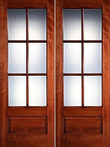 Preston 8 0 Tall 6 Lite Low E 1 Panel Mahogany Prehung Wood Double Door Unit 1598 2 Wk Lt Mahogany Wood Doors Double Doors French Doors Patio
