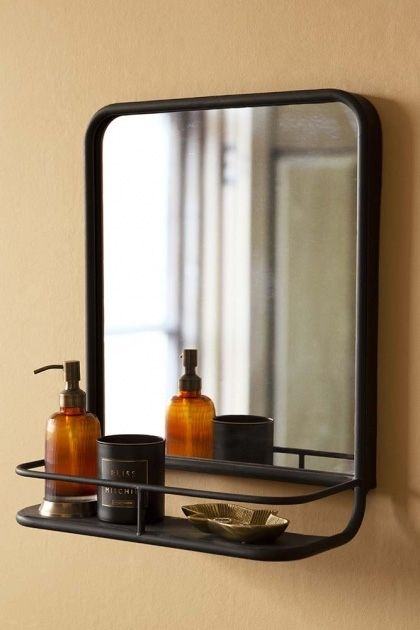 Black Almost Square Bathroom Mirror With Shelf In 2020 Bathroom Mirror With Shelf Bathroom Mirror Mirror With Shelf