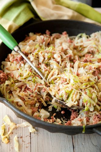 Paula Deen Easy Corned Beef and Cabbage..lots of ways to make this lighter, use light marg,REAL corned beef and not the fatty can stuff, definately not Lunenburg County corn beef dinner, but in a pinch, maybe it would would work:-)