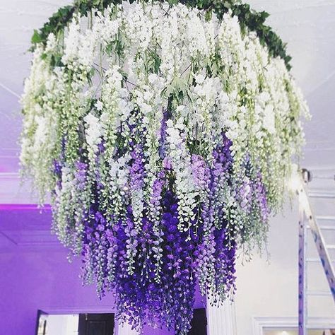 Wisteria Buds Are Out So Soon You Can Create A Wisteria Waterfall Chandelier Like This One By Allforlovelo Flower Chandelier Hanging Flowers Fun Wedding Decor