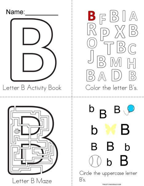 Letter B Activity Book From Twistynoodle Com Letter B Activities Book Activities Lettering Letter b activities for preschoolers