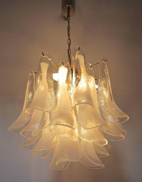 Mazzega Murano Clear And White Petal Chandelier Chandelier Chandelier Pendant Lights Murano Chandelier