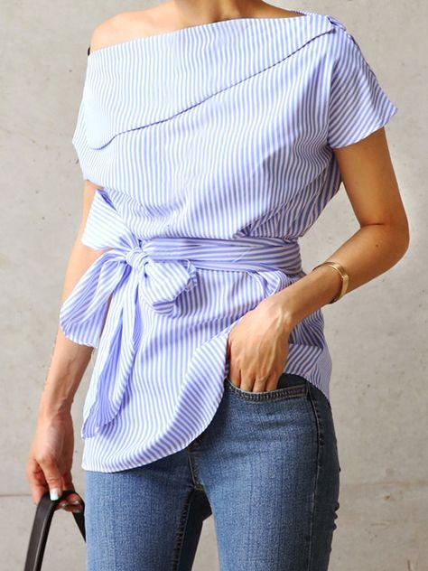 Lace-Up Slash Neck Short Sleeve Women's Blouse