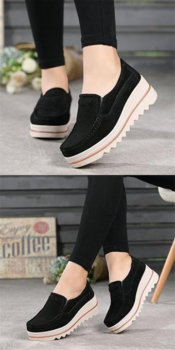 ba0439ab087 HKR Women Platform Slip On Loafers Comfort Suede Moccasins Wide Low ...