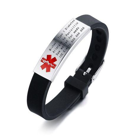 Pulseras vnox para Hombre Acero Inoxidable Cadena De Identificación Alerta Médica Pulsera marcapasos