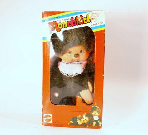 Vintage Toy, Monchhichi Doll, Mattel, 1980s, Toy in Box