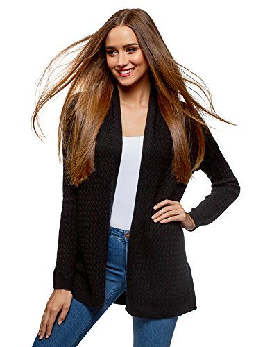 oodji Collection Donna Cardigan a Trecce Senza Chiusura