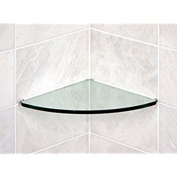 Floating Glass Shelves Bathroom Tempered Glass Curved Corner Shelf