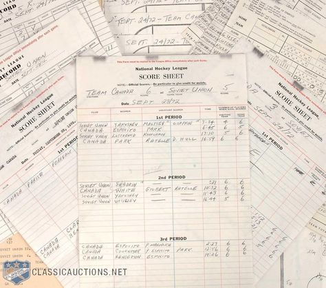 1972 SUMMIT SERIES - HISTORIC SCORE SHEET - Game 8 in Moscow - hockey score sheet