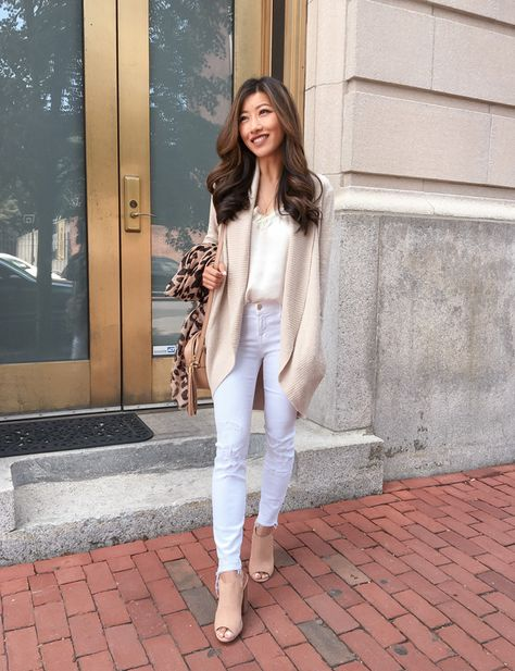 Casual, cute white jeans + cardigan sweater outfit // extra petite fashion blog
