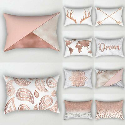 Details About Rose Gold Pink Cushion Cover Waist Pillow Case 30cm