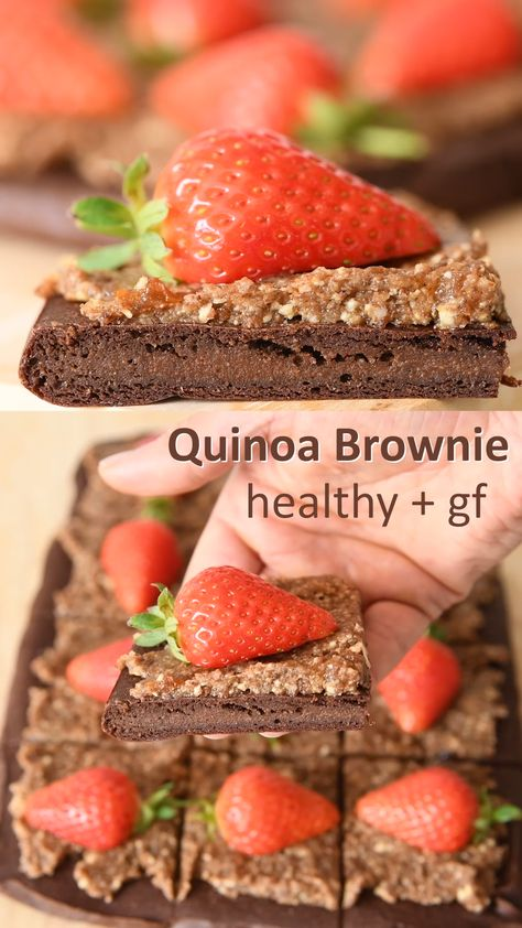 Healthy quinoa brownies that are high in protein with no sugar, flour, butter, gluten, eggs or oil. Just 4 whole food ingredients are used to make this easy quinoa brownie recipe. Much simpler and quicker to make than a cake but tastes amazing. Learn how to make healthy brownies from just a few ingredients that don't taste like they are healthy! Suitable for paleo, vegan, gluten free, dairy free, grain free, oil free and plant based whole food diets. #healthyrecipe #veganrecipe #healthy