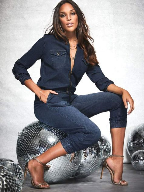 e0cf4257c06d New York   Co. Gabrielle Union Collection - Zip-Front Denim Jumpsuit - Blue  Dusk  Collection Zip Union