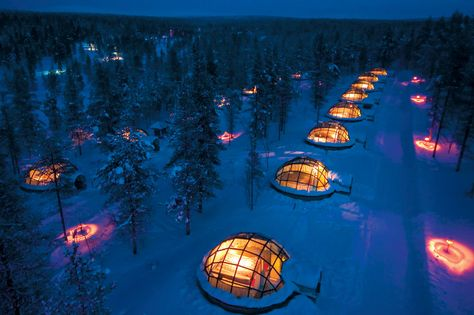 An aerial view over Igloo Village