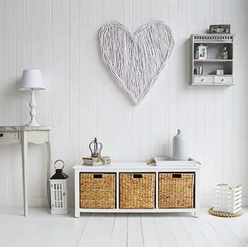 White Storage Bench For Hall Furniture