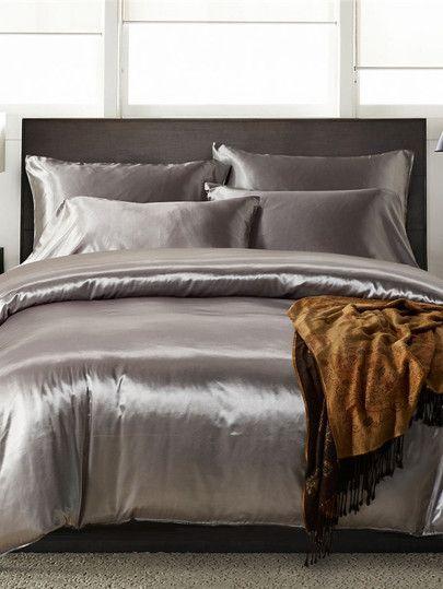Shein Simple Solid Colour Bed Sheet Set Silk Bedding Set Bedding Sets Grey Silk Duvet Cover