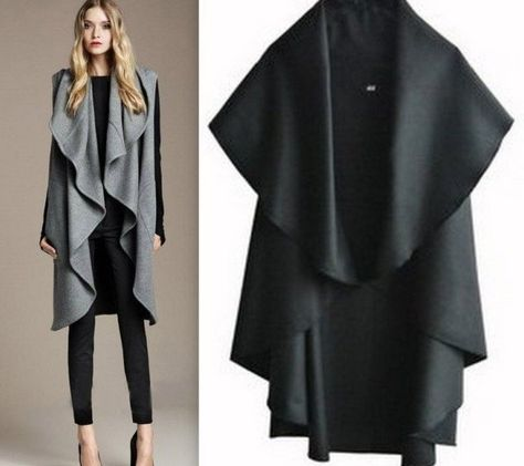 3475f13f0ba6 Winter Women Wool Batwing Cape Shawl Poncho Long Cloak Coat Jacket ...