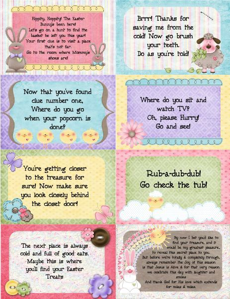 Easter basket scavenger hunt cards my kids love it when i put easter basket scavenger hunt cards my kids love it when i put clues in the plastic eggs so this might be something to try this year negle Image collections