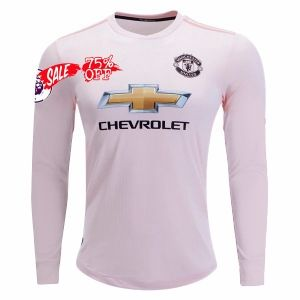 Man United 2018 19 Top Ls Away Pink Jersey M952 Soccer Shirts Football Tops Long Sleeve Tshirt Men