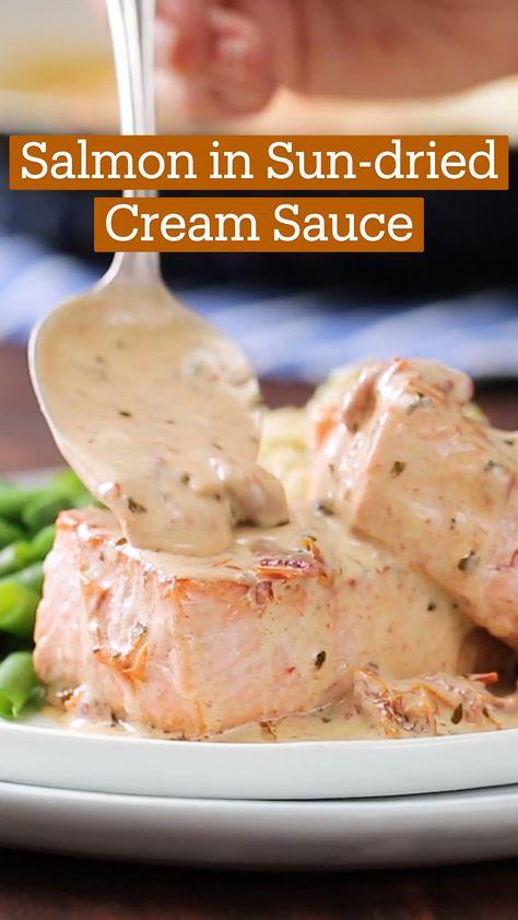 Salmon in Sun-dried Cream Sauce