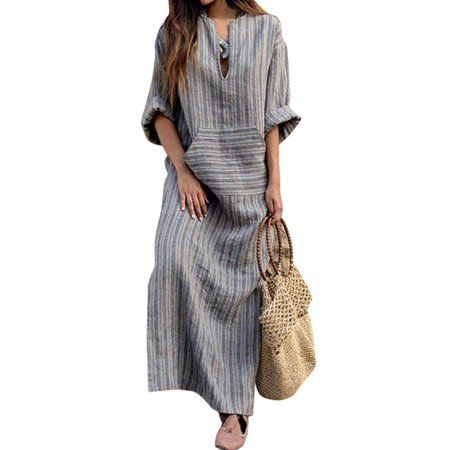 Nicesee Nicesee Women Long Sleeve Loose Vintage Cotton Linen Dress Plus Size Walmart Com Maxi Dress Cotton Maxi Dress With Sleeves Cotton Linen Dresses