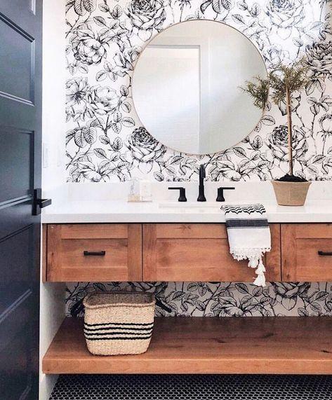 Wallpaper Is Back Fun Wallpaper In This Modern Farmhouse Style Bathroom Bathrooms Remodel Interior Bathroom Design
