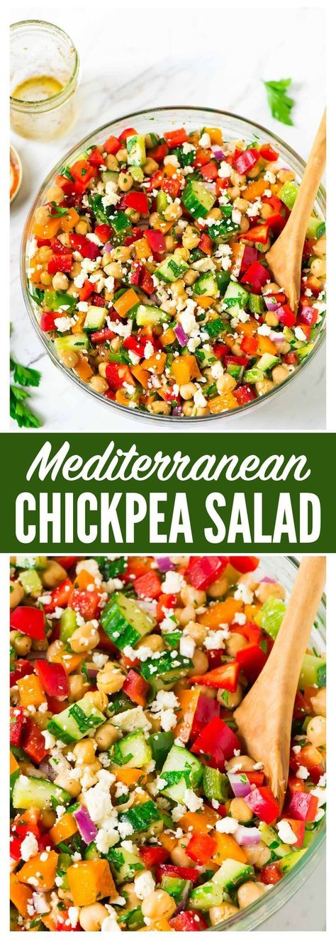 Healthy Mediterranean Chickpea Salad with feta cucumber bell peppers and a simple Greek dressing. Fast easy recipe thats perfect for a summer barbecue side dish or a main dish salad for a light dinner. Barbecue Sides, Barbecue Side Dishes, Sides For Bbq, Simple Side Dishes For Bbq, Greek Side Dishes, Cookout Side Dishes, Summer Side Dishes, Main Dishes, Chickpea Salad Recipes