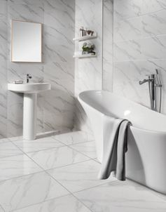 Wickes Calacatta Gloss White Marble Effect Glazed Porcelain Tile 605 X 605mm Wickes Co Uk White Marble Tile Bathroom Bathroom Wall Tile Grey Marble Bathroom